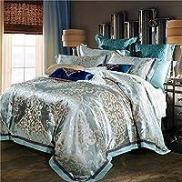 Luxury seta jacquard biancheria da letto blu rosso rosa oro argento satinato set biancheria da letto/copriletto regina king size copripiumino set di fogli 4pz.