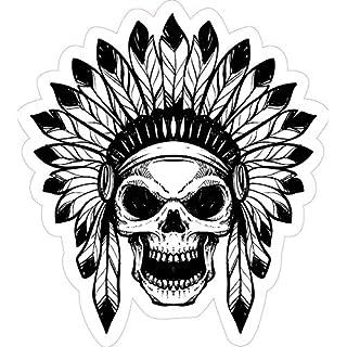 Indian Skull Design 1 Native American Car Van Laptop Toolbox Sticker Laminated.