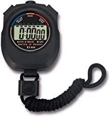 Quit-X® Deep Black - Waterproof Sports Stopwatch Timer with Alarm Feature for Sports Coaches Fitness Coaches and Referees