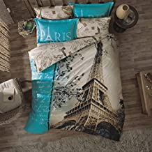 Original Juego de Funda de Edredón, diseño de Amor Torre Eiffel de París Turquesa, Para Cama Doble, 100% algodón, 4 Piezas (funda de edredón + sábana ajustable + 2 funda almohada)