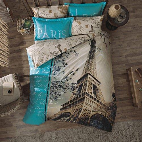 Original Bettwäsche-Set, Design Liebe Paris Eiffelturm Türkis, Doppelte Größe, 100% Baumwolle, 4-Teilig (Bettbezug + Flachbettlaken + 2 Kissenbezug) Paris Eiffelturm Bettwäsche