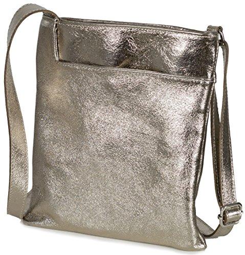Taschenloft kleine Damen Umhängetasche 22x24x3cm   Crossover Nappa-Leder-Tasche (Bronze Gold) (Gold Schnalle Metallic Handtasche)