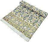 Guru-Shop Blockdruck Tagesdecke, Bett & Sofaüberwurf, Handgearbeiteter Wandbehang, Wandtuch - Blau/gelb Paisley, Weiß, Baumwolle, Größe: Single 150x200 cm, Tagesdecken mit Blockdruck