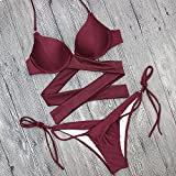 XIAOHUAHUA Hot Spring Beach Holiday Cross Frenulum Badeanzug Bikini, M, Bordeaux