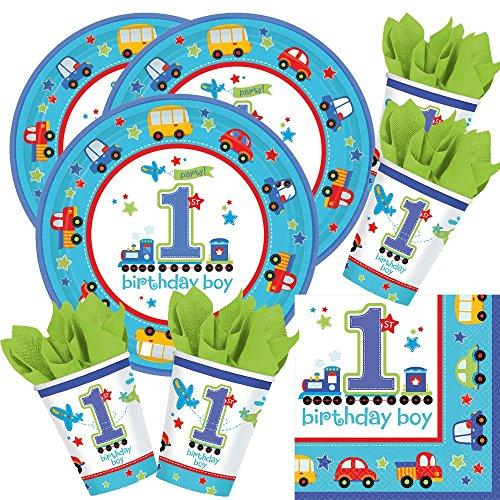 t 1. Geburtstag Junge birthday boy - Teller Becher Servietten für 16 Kinder / Personen ()