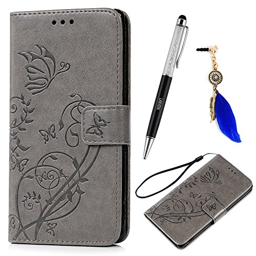 Lanveni PU Lederhülle Leder Tasche für Sony Xperia M4 Aqua Hülle Grau Schmetterlinge Geprägtes Design Case Cover Bookstyle Brieftasche Card Slot Handy Schutzhülle Back Cover + 1 x Stylus Pen + 1 x Staubdichte Stecker (Bilder Aqua)