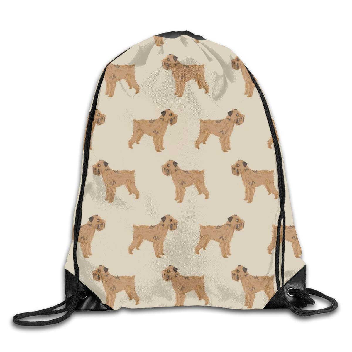 Brussels Griffon Dog Standing Dogs Khaki Neutral Dog Design Pet Dog Drawstring Gym Bag for Women and Men Polyester Gym Sack String Backpack for Sport Workout, School, Travel, Books 14.17 X 16.9 inch