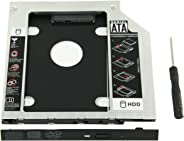 YOMYM Universal 9.5mm SATA to SATA 2nd SSD HDD Hard Drive Caddy Adapter Tray Enclosures for DELL HP Lenovo ThinkPad ACER Gate