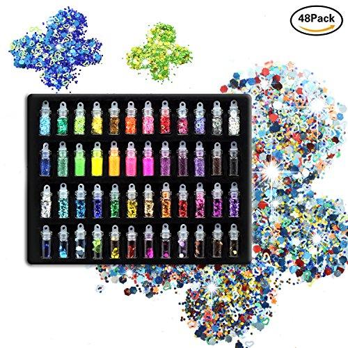 laconile 48Farben Glitter Glitzer Puder Pailletten Gesicht Körper Haare Nails Glitter für Schlamm und Art & Crafts Glitter