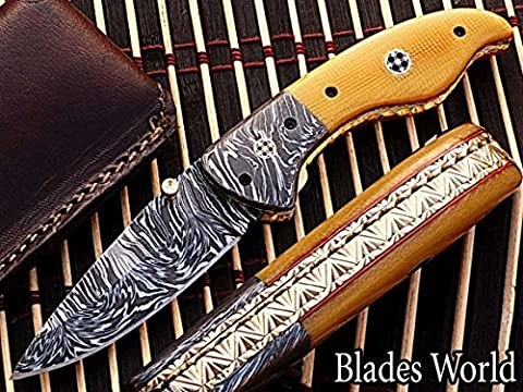Hand Made Damaskus Stahl 18cm faltbar Taschenmesser mit Canadian Micarta Wood & Massiv Damaskus Nackenrolle mit Mosaikpin Griff (bdm-126)
