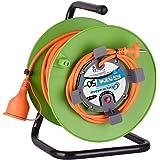 Electraline 20866139F Rallonge Prolongateur Jardín 50 m avec enrouleur 16A - Section 2x1,5 mm² Orange/Vert