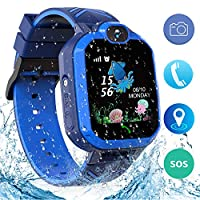 Jaybest Kids Smart Watch Phone, IP67 Waterproof LBS Tracker Smartwatch for Kids Anti-lost Two-way Calling Touch Screen Mobile Phone for Girls Boys, SOS Sim Card with Camera, Games(blue)
