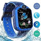 Jaybest Smartwatch Bambini, IP67 Impermeabile LBS Tracker Smartwatch per Bambini Telefono Cellulare Touch Screen a Chiamata Bidirezionale Anti-perso Gifts, Scheda SIM SOS con Fotocamera, Giochi(BLUE)