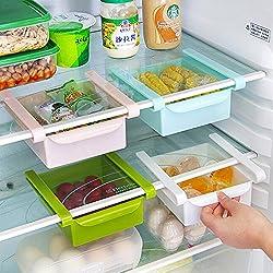 CrazySell - Estante de almacenamiento de plástico para nevera o congelador, soporte para organización y ahorro de espacio en la cocina 4Pcs