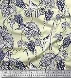 Soimoi Gelb Seide Stoff Blätter, Trauben & ziraffe Tier