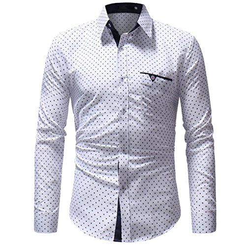 Luckycat Herren Herbst Casual Formale Polka Dot Slim Fit Langarm Kleid Shirt Top Bluse Mode 2018