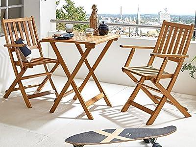 SAM® Robuste Gartengruppe Chile 3tlg., aus Akazienholz, bestehend aus 1 x Tisch + 2 x Klappstuhl, geölt, Garten-Tischgruppe, schöne Maserung, massives Holz, klappbar, Sitzgruppe aus Akazien-Holz