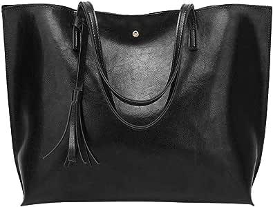 Miss Lulu Handtasche Damen Aktentasche Henkeltasche Unitasche Schultertasche Tote Bag Retro Elegant Gro/ß