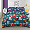 Multi Owl Duvet / Quilt Cover Bedding Set plus Pillowcases Owl Bedding Multi Mid Night Owl - cheap UK light shop.