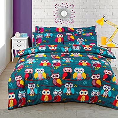 Multi Owl Duvet / Quilt Cover Bedding Set plus Pillowcases Owl Bedding Multi Mid Night Owl produced by HBS - quick delivery from UK.