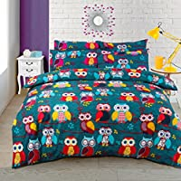 Velosso Multi Owl Duvet/Quilt Cover Bedding Set Owl Bedding Multi Mid Night Owl (Single)