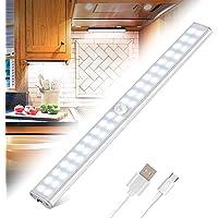 Lampe de Placard 40 LEDs, Eclairage Placard Détecteur de Mouvement, Reglette Led Rechargeable USB, 4 Modes d'Éclairage…
