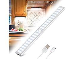Lampe de Placard 40 LEDs, Eclairage Placard Détecteur de Mouvement, Reglette Led Rechargeable USB, 4 Modes d'Éclairage, Lumiè