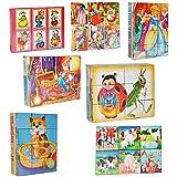 Bilderwürfel / Würfelpuzzle aus Kunststoff - 12 Teile mit Vorlagen - Puzzle - verschiedene Märchen / Tiere und Comic Figuren für Kinder - Puzzle Kunststoffwürfel