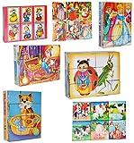 Unbekannt 3 Set: Bilderwürfel / Würfelpuzzle aus Kunststoff - 12 Teile mit Vorlagen - Puzzle - verschiedene Märchen / Tiere und Comic Figuren für Kinder - Puzzle Kunststoffwürfel