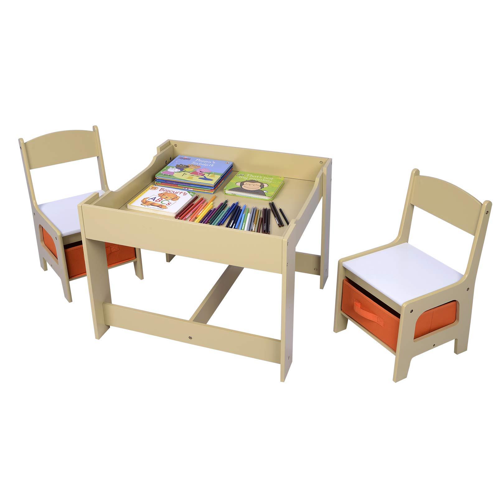 Tavolino Con Contenitore.Woltu Sg002 Set Mobili Con Lavagna Contenitore Tavolo E Sedie Per Bambini Gioco Soggiorno Tavolino Con 2 Sgabelli In Legno