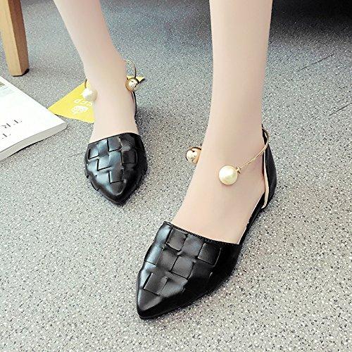 RUGAI-UE Estate sandali donne bocca poco profonda perla scarpe a punta piatta scarpe della fibbia Black