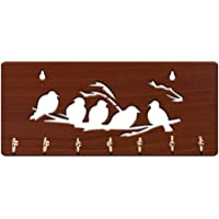 Baleno Crafts & Creations Side Shelf Wooden Key Holder (30 cm x 13 cm x 3 cm) (Five Birds)