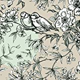 Rico Design Baumwoll-Stoff Vögel Grau Mint 140 cm breit (Meterware)