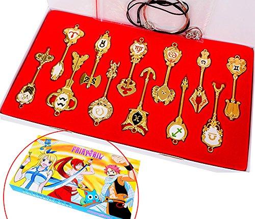 PandaCos Fairy Tail Llaveros con Caja Cosplay 12 Piezas Colgante de Aleación Llaves Accesorio Lucky Keys Hombres Regalo y Colección con Caja