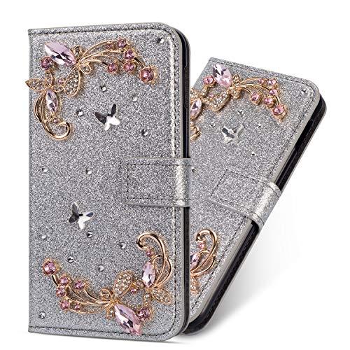 Miagon Hülle Glitzer für Samsung Galaxy A70,Luxus Diamant Strass Blume PU Leder Handyhülle Ständer Funktion Schutzhülle Brieftasche Cover,Silber