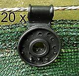 EXCOLO 20 Halter Befestigungen Clip für Schattier-Netz Gewebe Sicht-Schutz Blende Zaun-Blende
