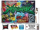 Papier peint du style de rue décoration de peinture murale de graffiti style de photo pop art lettrage comique abstrait urbaine mur d'écriture | murale photo mur deco chez GREAT ART (336 x 238 cm)