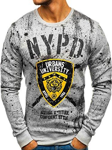BOLF Herren Sweatshirt ohne Kapuze mit Aufdruck Sport Style Casual Style J.Style DD261 Grau L [1A1]