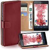 Sony Xperia Z3 Compact Hülle Rot mit Kartenfach [OneFlow Wallet Cover] Handytasche Flip-Case Handyhülle Etui Kunst-Leder Tasche für Sony Xperia Z3 Compact / Z3 Mini Case Book Schutzhülle