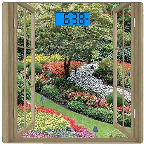 waage für das Körpergewicht Japanische Produkte von Ultra Slim aus gehärtetem Glas Badezimmerwaage Genaue Gewichtsmessungen, japanischer Garten mit Blumen, Pflanzen und Gras Panoram ()
