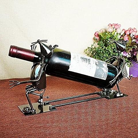Wkaijc Acier Inoxydable Iron Personality Fashion Simple Creative Ornaments Red Wine Rack Wine Rack