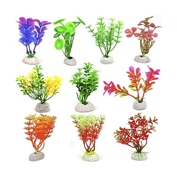 DIGIFLEX Artificial Plant for Fish Tank – Fake Plant – Fish Tank Decorations – Fishtank Ornament Green Leaves – 20cm…