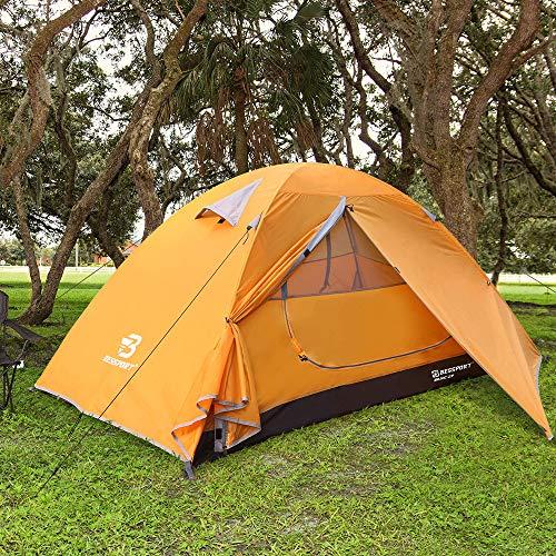 Bessport Tenda da Campeggio per 1 posti Impermeabile, Ventilata 4 Stagioni Ultra-Leggero Due Porte Doppio Strato Tenda Tende da Escursioni Outdoor (Arancia)