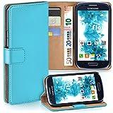 moex Samsung Galaxy S3 Mini | Hülle Türkis mit Karten-Fach 360° Book Klapp-Hülle Handytasche Kunst-Leder Handyhülle für Samsung Galaxy S3 Mini S III Case Flip Cover Schutzhülle Tasche