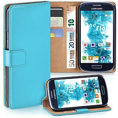 Samsung Galaxy S3 Mini Hülle Türkis mit Karten-Fach [OneFlow 360° Book Klapp-Hülle] Handytasche Kunst-Leder Handyhülle für Samsung Galaxy S3 Mini S III Case Flip Cover Schutzhülle