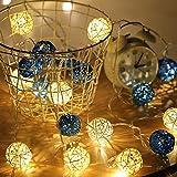 sakj-d Weihnachtsdekoration Requisiten Führte Stock Ball Laterne String Urlaub Schlafzimmer Dekoration Lichterketten, WeißesPulver 3 Meter - Batterie-Box