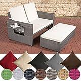CLP Polyrattan 2er- Loungesofa ANCONA | Garten-Sofa mit ausziehbarem Fußteil und verstellbarer Rückenlehne | In verschiedenen Farben erhältlich Rattan Farbe grau, Stärke 1,25 mm, Bezugfarbe: Cremeweiß