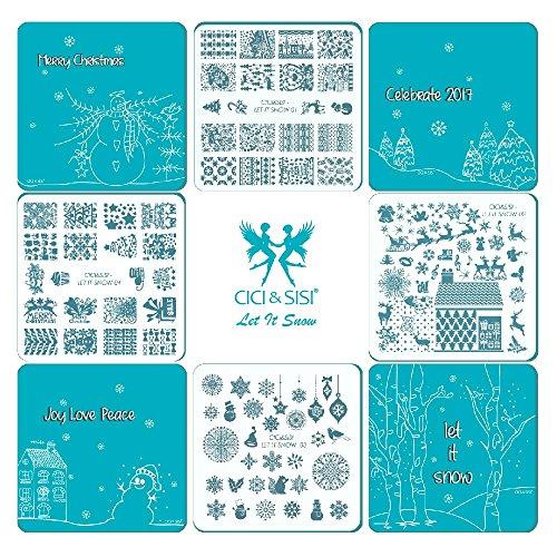 Cici & SISI Weihnachts Nail Art Stamping Kit Stempel Teller Maniküre DIY Vorlage 4pieces-let IT SNOW