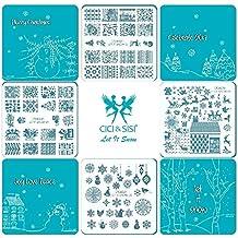 CiCi & SISI–Juego de platos de Nail Art Stamping Sello placa plantilla de manicura DIY 4pieces-let it Snow