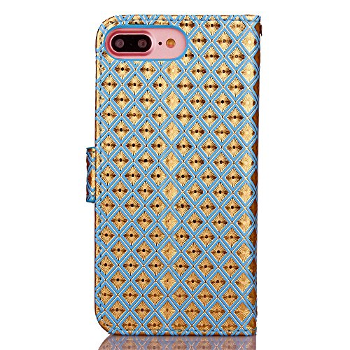 JIALUN-Telefon Fall IPhone 7 Plus Diamant Gitter Muster Fall, mit Handschlaufe Ständer Brieftasche Fall PU Ledertasche TPU Soft Cover für Apple IPhone7 Plus ( Color : 5 , Size : Iphone 7 Plus ) 2